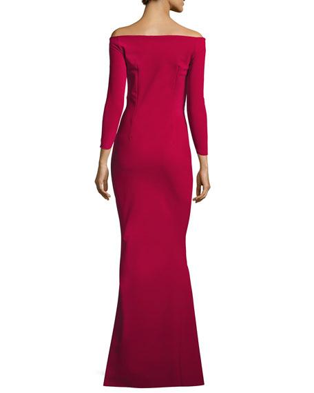 Kaliska Off-the-Shoulder Long-Sleeve Evening Gown w/ Velvet