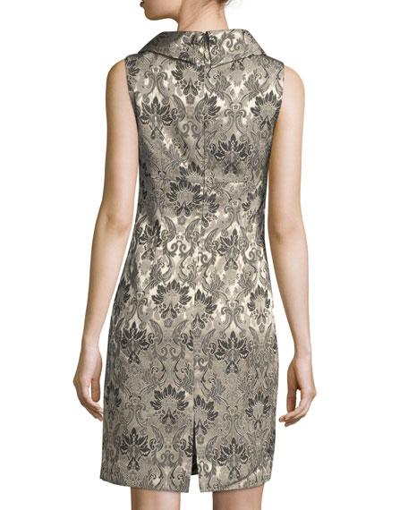 Jacquard Folded-Collar Dress
