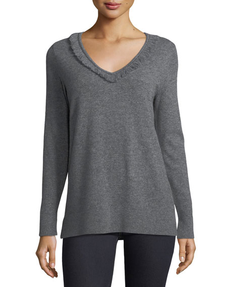 Neiman Marcus Cashmere Collection Cashmere Fringe-Trim Sweater