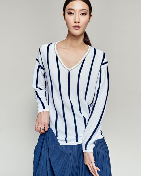 Chain-Trim Striped Cashmere V-Neck Sweater
