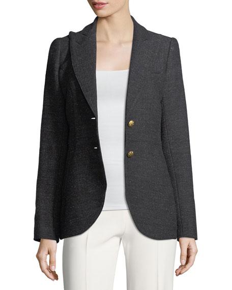 Single-Breasted Herringbone Wool Riding Blazer