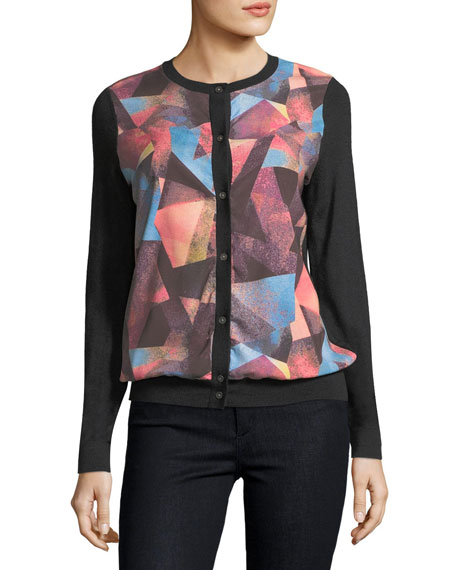 Neiman Marcus Cashmere Collection Cashmere Geometric-Print Cardigan