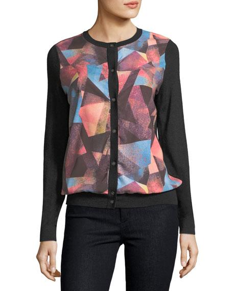 Neiman Marcus Cashmere Collection Cashmere Geometric-Print Cardigan