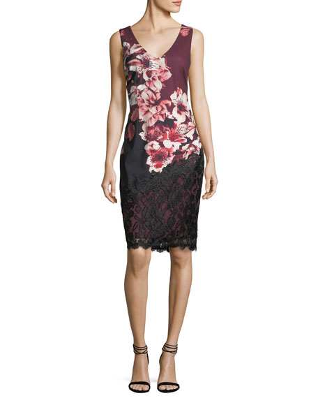 Lace-Trim Floral-Print Sheath Dress