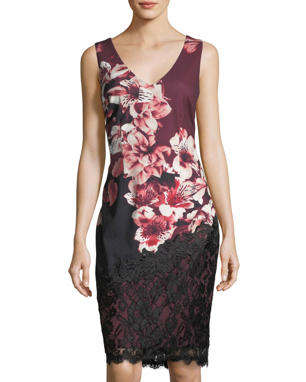 2c9ff73c JAX Lace-Trim Floral-Print Sheath Dress   Neiman Marcus