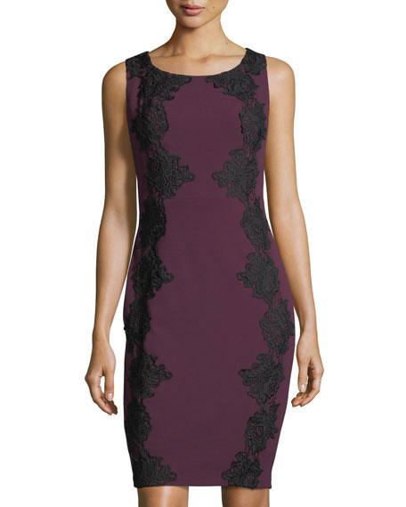JAX Lace-Appliqué Crepe Dress