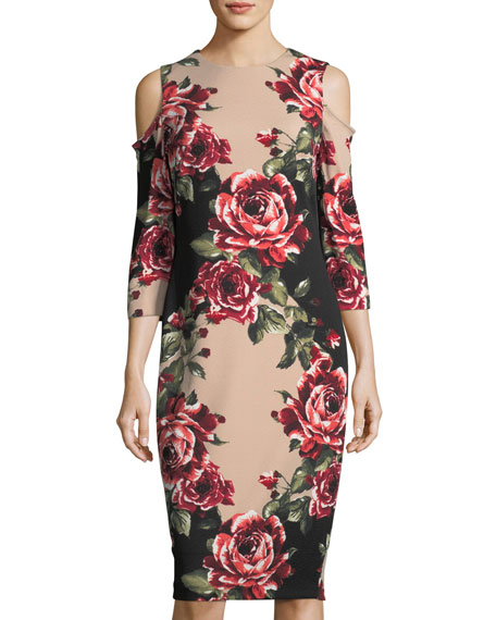 JAX Floral-Print Cold-Shoulder Dress