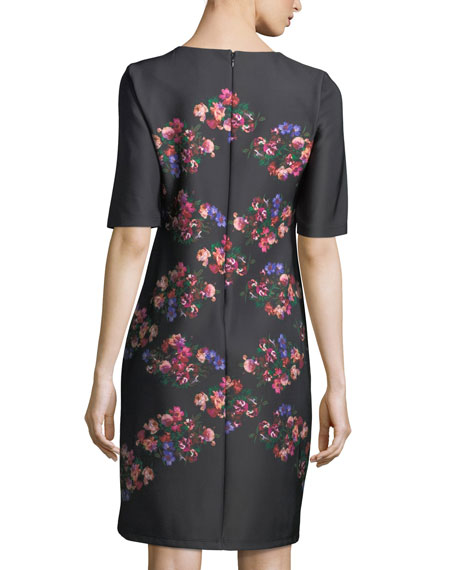 Floral-Print Half-Sleeve Shift Dress