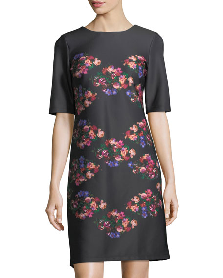 Taylor Floral-Print Half-Sleeve Shift Dress