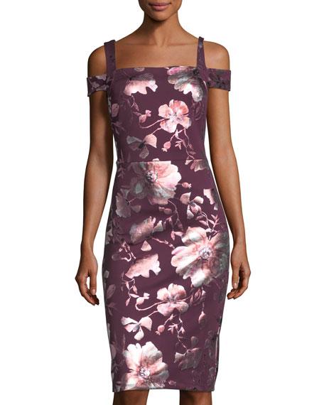 Cold-Shoulder Floral-Print Sheath Dress