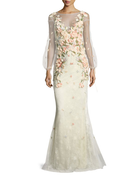 Marchesa Notte Bishop-Sleeve Lace Evening Gown w/ Floral