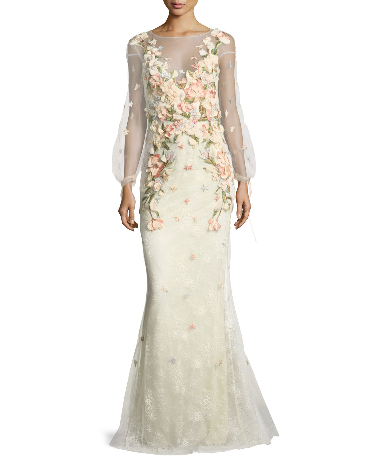 Marchesa Notte Bishop Sleeve Lace Evening Gown W Floral Appliques