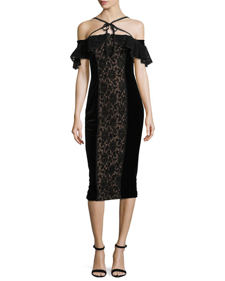 Marchesa Notte Velvet Off-the-Shoulder Midi Cocktail Dress w/