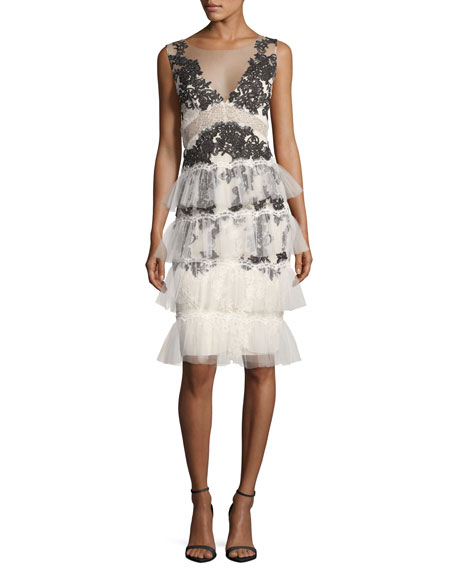 Marchesa Notte V-Neck Embroidered Lace Tiered Cocktail Dress