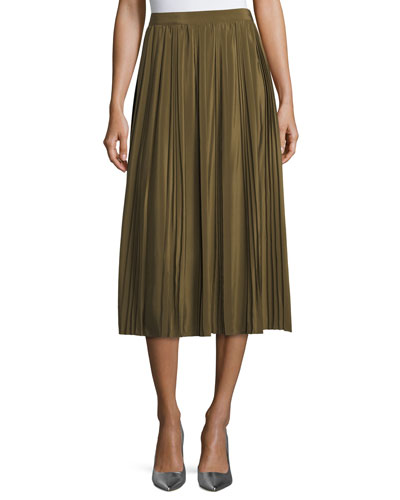 Pleated A-Line Cotton Midi Skirt