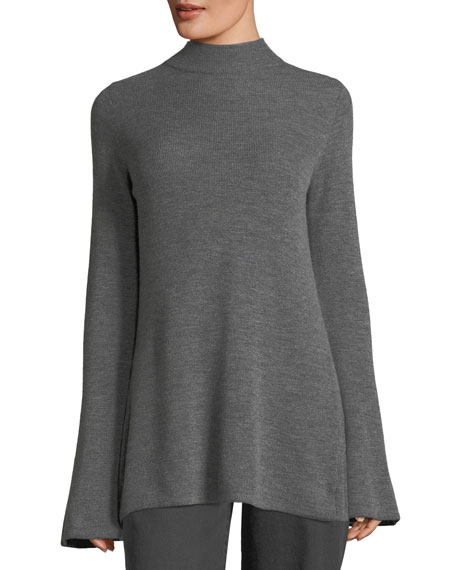 Bell-Sleeve Open-Back Merino Wool Sweater