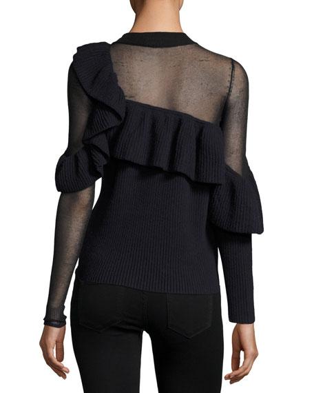 Asymmetric Frill Long-Sleeve Wool Sweater