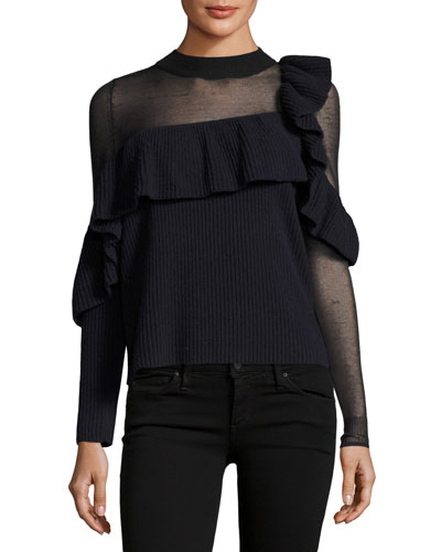 Asymmetric Frill Long-Sleeve Wool Sweater