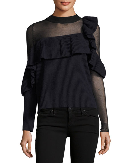 Self-Portrait Asymmetric Frill Long-Sleeve Wool Sweater
