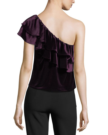 Agus One-Shoulder Velvet Top