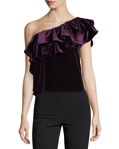 MISA Los Angeles Agus One-Shoulder Velvet Top