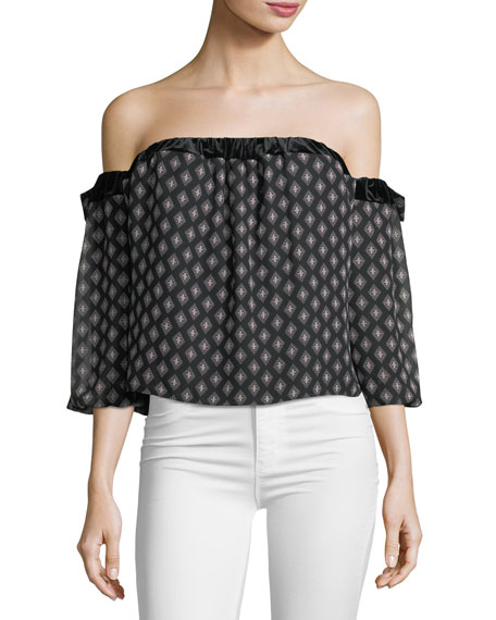 MISA Los Angeles Vallez Off-the-Shoulder Printed Chiffon Top