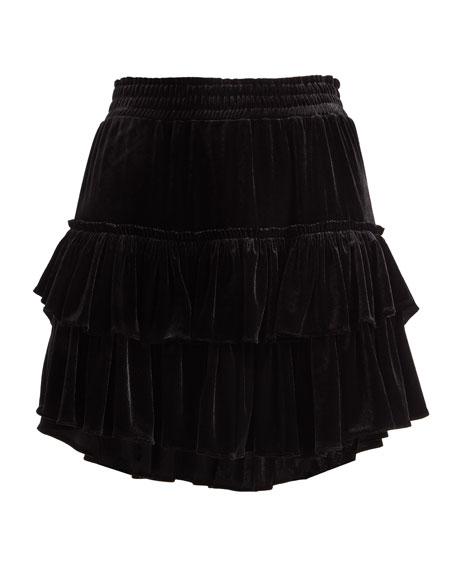Luiza Tiered Velvet Mini Skirt