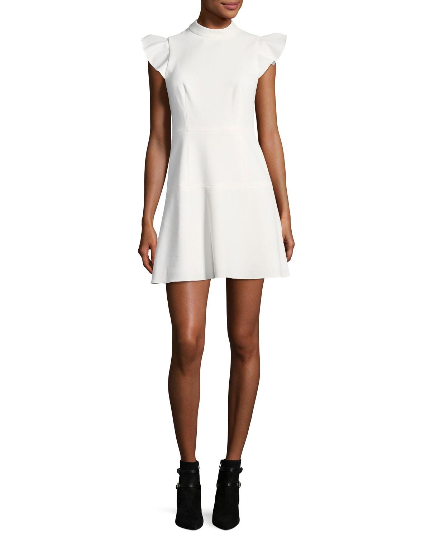 d3b729a3903 Rachel Zoe Parma Mock-Neck Flutter Sleeve A-line Dress