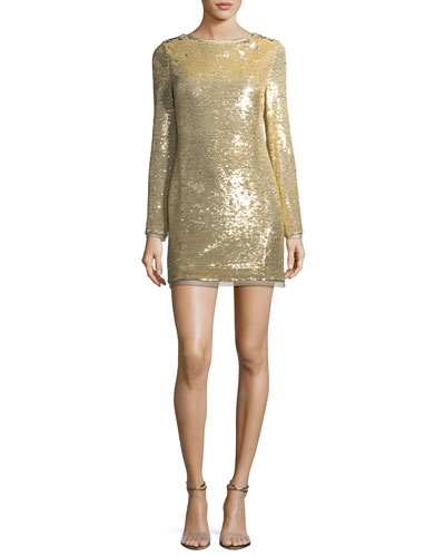 Racko Long-Sleeve Sequin Cocktail Dress