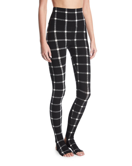 Norma Kamali Grid Stretch-Jersey Leggings w/ Footie