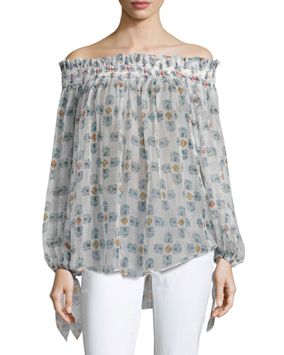 Lou Off-the-Shoulder Printed Chiffon Top