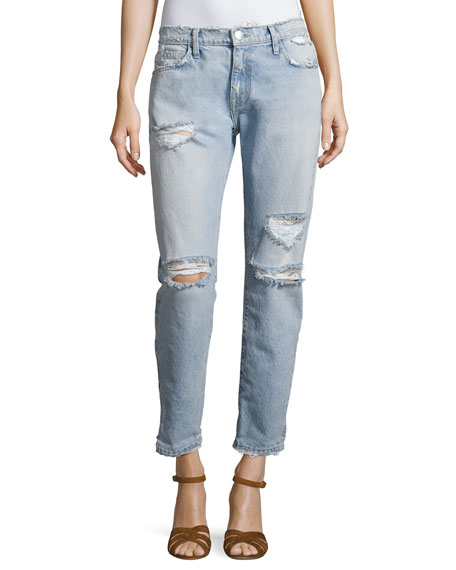 Current/Elliott The Fling Distressed Denim Jeans, Indigo
