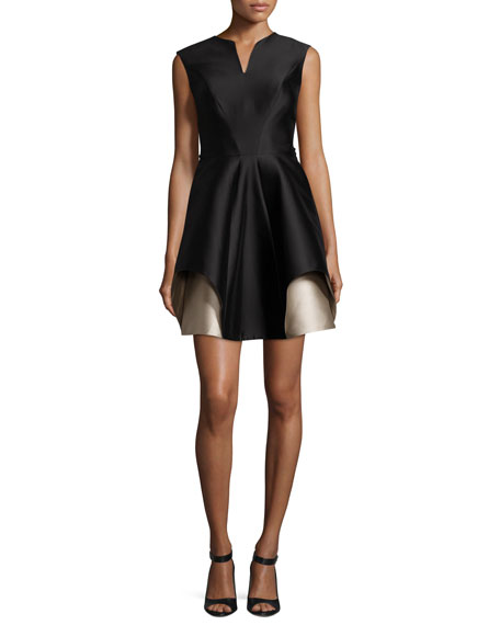 Halston Heritage Cap-Sleeve Notch-Neck Colorblocked Cocktail Dress