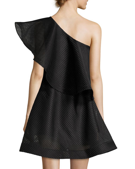 One-Shoulder Flounce Striped Mesh Cocktail Dress