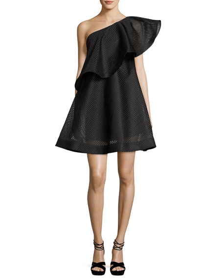 Halston Heritage One-Shoulder Flounce Striped Mesh Cocktail Dress