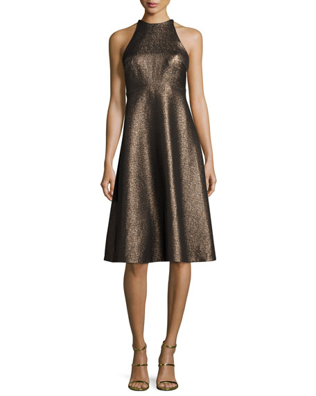 Halston Heritage Sleeveless Metallic Halter Jacquard Cocktail