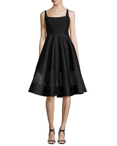 Sleeveless Wide-Neck Stripe Mesh Cocktail Dress