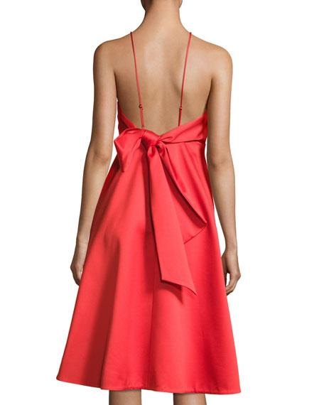 Sleeveless High-Neck Cocktail Dress w/ Back Bow