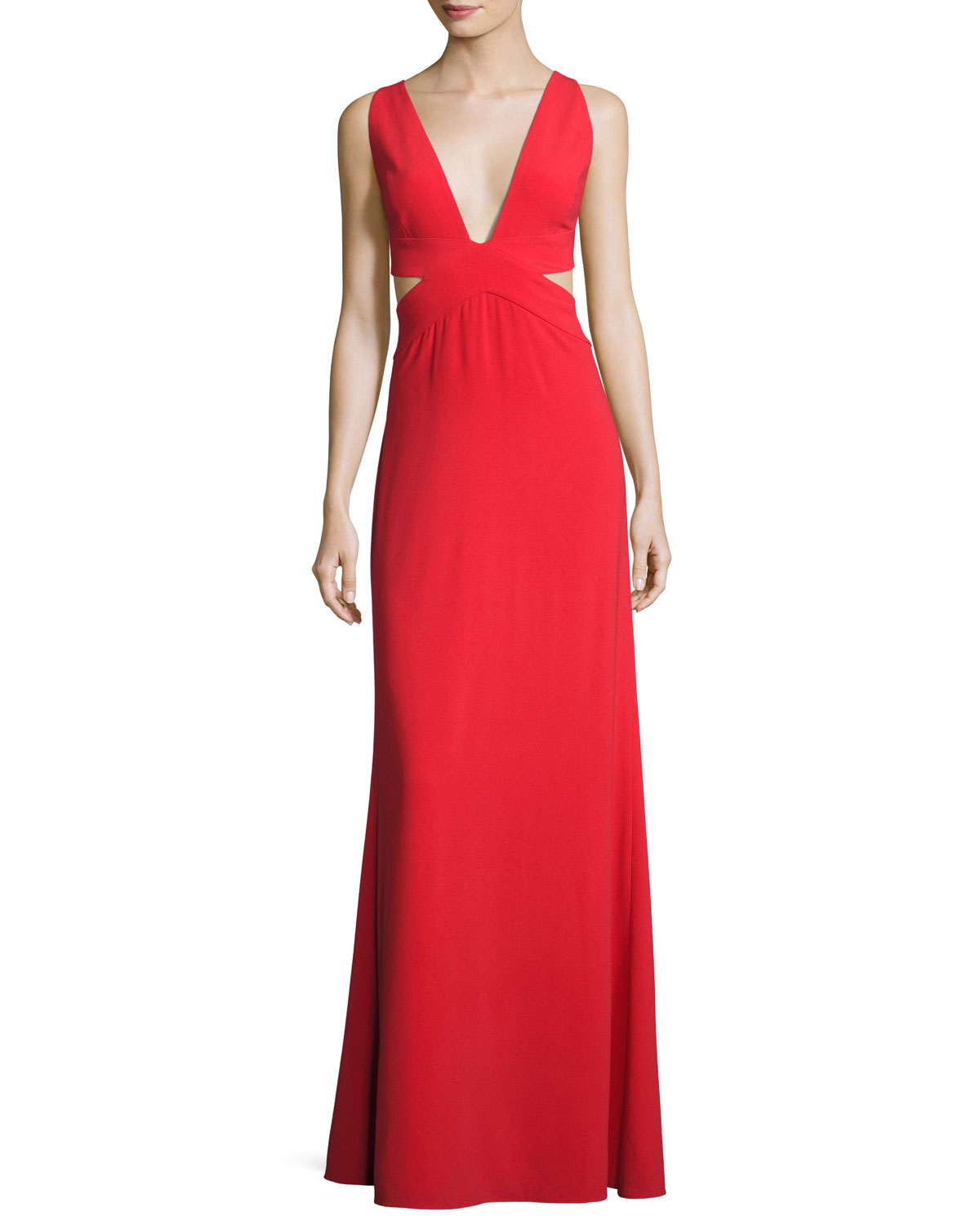 Halston Heritage Sleeveless Deep-V Evening Gown w/ Side Cutouts ...
