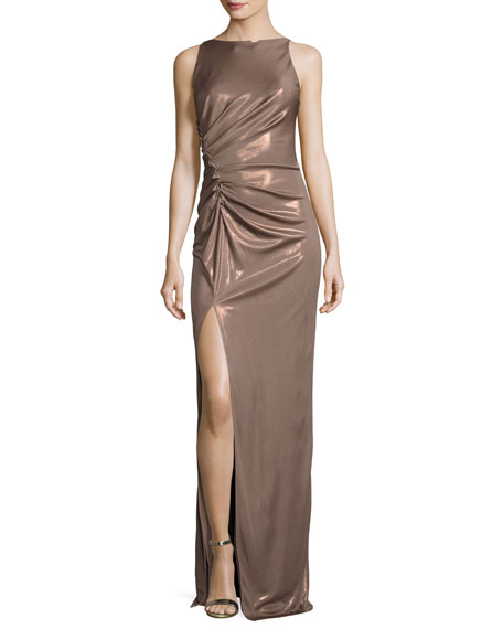 Halston Heritage Sleeveless High-Neck Ruched-Side Evening Gown