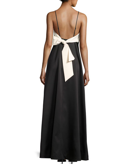 Sleeveless V-Neck Structured Evening Gown