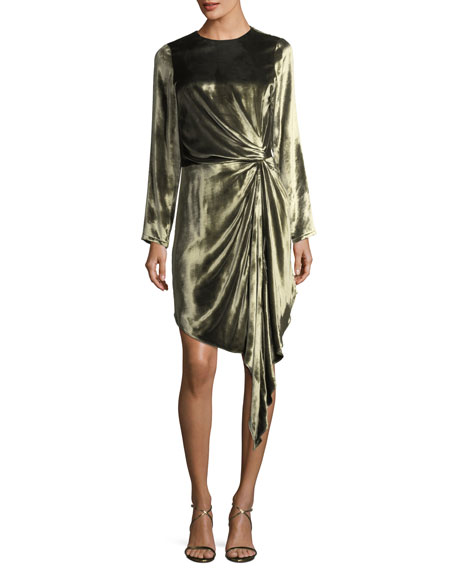 Haute Hippie Melanie Long-Sleeve Velvet Knot Cocktail Dress