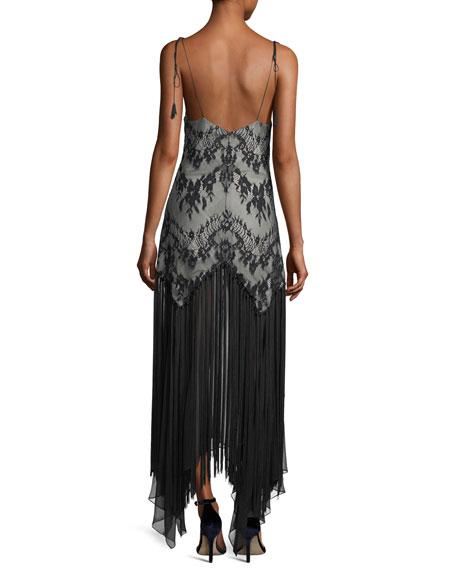 Alicia Sleeveless Lace Handkerchief Evening Dress