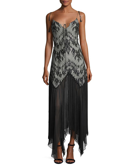 Haute Hippie Alicia Sleeveless Lace Handkerchief Evening Dress