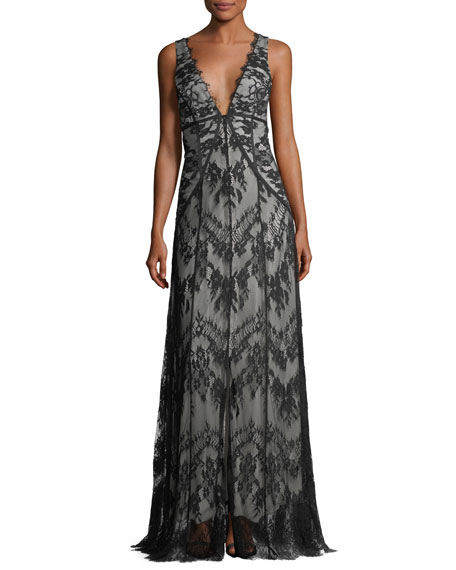 Haute Hippie Doreen Hook-&-Eye Lace Evening Gown