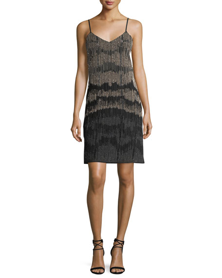 Haute Hippie Beaded Fringed Cocktail Slip Dress