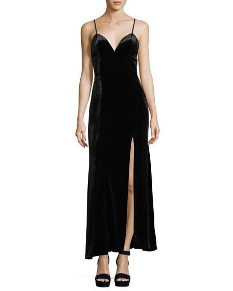 Sleeveless Velvet Gown w/ Beaded Corset Neck Piece