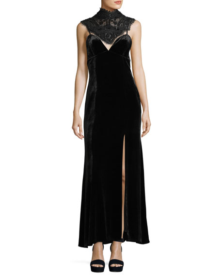 Haute Hippie Sleeveless Velvet Gown w/ Beaded Corset