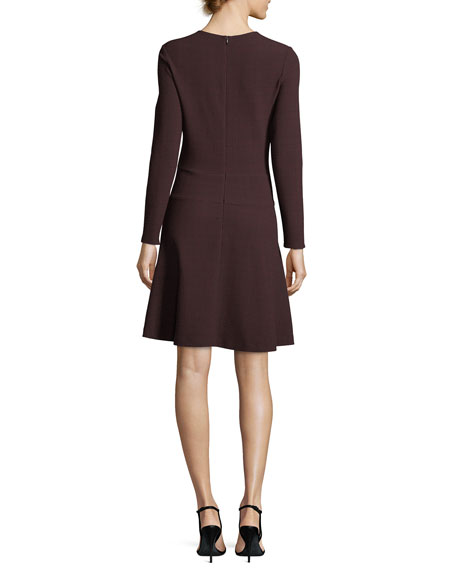 Rio Long-Sleeve Fit-and-Flare Textured Knit Dress