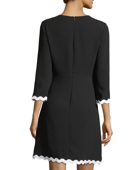 Sutter 3/4 Sleeves Faux-Wrap Scalloped Dress